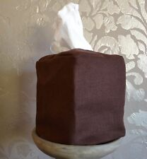 Mike & Ally Chocolate Brown Linen Fabric Boutique Tissue Box Cover