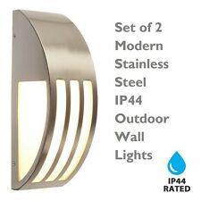 Set of 2 Modern Brushed Stainless Steel IP44 Outdoor Wall Lights Garden Porch