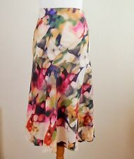 Tara Size UK12 Pure Linen Skirt Neat Bias Cut Flippy Hem Cream Gold Pink Green