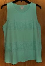 NWT $45 J CREW - SPEARMINT *LACE PANEL TANK* - MISSES M