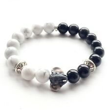 Elephant Bracelet Made of Howlite & Black Onyx Natural Stone Beads