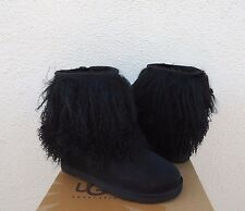 UGG BLACK LONG MONGOLIAN SHEEPSKIN CUFF BOOTS, WOMENS US 11/ EUR 42  ~NIB