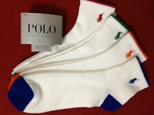 Polo Ralph Lauren 4-Pair Athletic Quarter Crew  Socks White / Multi   (0261)