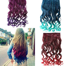 """Blue 6"""" Rainbow Women's  Neon Tangle Curly Clip in Hair Extension Ponytail"""