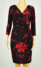 Lauren Ralph Lauren Womens Black/Red Floral Print Ruched Jersey Dress 8P