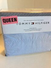 TOMMY HILFIGER Oxford Ithaca STRIPE QUEEN SHEET SET 4 pc Blue White NEW