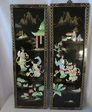2 Vtg Chinese carved shell mother of pearl wall art black lacquer Geisha Girls