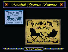 Primitive Stencil-WISHING YOU A MERRY VINTAGE CHRISTMAS~1 Horse Sleigh