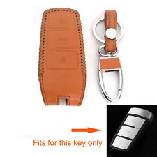 Brown Leather Key Holder Cover Shell For Passat CC 3BTN Smart Remote Fob Chain