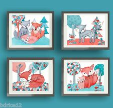 coral teal nursery wall art decor fox triangle modern nursery wall art prints