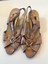 VTG 1980s Roland Cartier Leather Wedge Sandals UK 6 (A143-70-30-2269)
