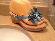 B.O.C BORN CONCEPT TEAL BLUE LEATHER FLORAL WEDGE THONG SANDALS WOMENS  6/36.M