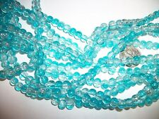 70  6mm TURQUOISE &  CRYSTAL  GLASS  ROUND CRACKLE BEADS