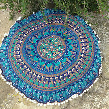 "Indian Mandala Floor Pillows 32"" Round Meditation Cushion Covers Ottoman Poufs"