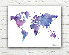 World Map Abstract Watercolor Painting Art Print by Artist DJ Rogers