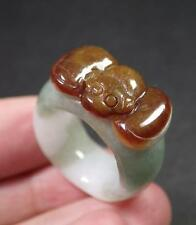 Certified Red Green 100% Natural A JADE Jadeite Bat RING USA.4 戒指 770536