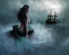 Siren Mermaid Galleon  HD Canvas print Art painting No Frame   16