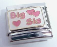 BIG SIS Italian Charm - 9mm Pink Hearts I Love My SISTER fits 9mm Bracelets E120