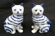 HAND CRAFTED PAIR OF SILVESTRI BLUE & WHITE CATS MADE  IN THAILAND