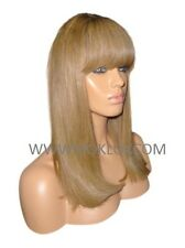 Glueless Remy Human Hair Wig Front Lace 16 Long Straight Blonde 27 Brown 6 Roots