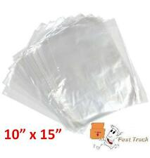 """500 x CLEAR POLYTHENE 10"""" x 15"""" PLASTIC FOOD APPROVED BAGS  -100 GAUGE *FAST*"""