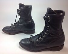 Women's Justin Navy Leather Lace Up Ankle Kiltie Fringe Western Boots Sz.5.5