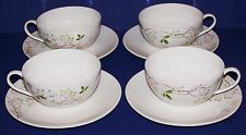 LOVELY CALVIN KLEIN SET OF 4 VERDANT CUPS & SAUCERS
