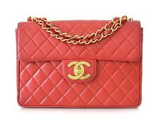 CHANEL Vintage Oversized Logo Red Lambskin Classic Jumbo Flap Bag Gold Chain