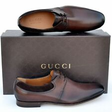 GUCCI New sz UK 10 - US 11 Authentic Designer Leather Oxfords Mens Shoes Brown