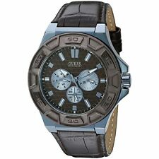Guess Men's Brown Leather Strap Watch 45mm U0674G5 NEW! Fast Shipping!
