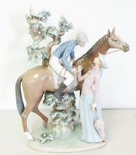 Mint Condition Lladro Jockey with Lass #5036 Porcelain Horse Figurine -Free Ship