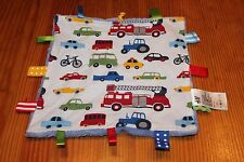 H&M Blue Baby Blanket Tags Lovey Car Tractor Bike Fire Engine Transportation EUC