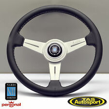 Nardi ND Classic 340mm Black Leather Steering Wheel Grey Stitching 6061.34.1001