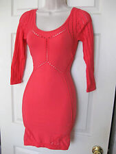 BEBE PINK DOTTY STITCH STRETCH BODYCON DRESS XSMALL XS SMALL S P/S
