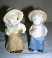 """Old Vintage Decorative Porcelain Figurines Boy and a Girl ~ 3-1/2"""" Tall"""