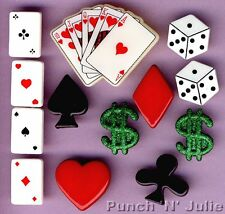 IN THE MONEY - Playing Cards Las Vegas Casino Novelty Dress It Up Craft Buttons