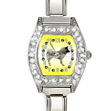 Eurasier Dog Cz Ladies Stainless Steel Italian Charm Bracelet Wrist Watch Bj1010