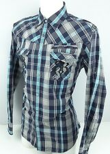 ROAR Enough Excuses Blue Plaid Embroidered Western Style Shirt - XL