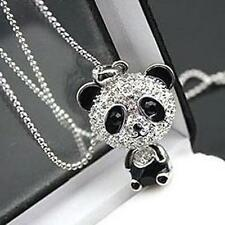 Luxury Women's Full Rhinestone Novelty Panda Bear Charm Necklace Jewelry