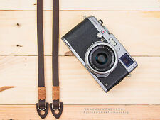 Genuine Brown Oil Leather Camera Strap HandMade, Fuji Sony Olympus Nikon Canon
