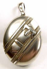 Antique Victorian Sterling Silver BUCKLE LOCKET Opens 1880