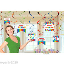 RAINBOW HANGING SWIRL DECORATIONS (12) ~ Birthday Party Supplies Foil Colorful