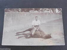 WW2 Gunner Harvey & horse in Riding School Lucknow RPPC Postcard