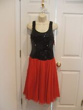 NWT $159 BLACK SOLID SEQUIN RED CHIFFON FULL SKIRT BALLROOM PARTY DRESS SIZE 5/6