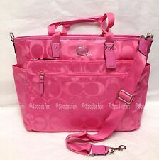 Coach 77577 Signature Nylon Multifunction Baby Diaper Tote Bag HOT PINK NWT Rare