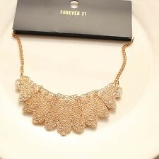 New Forever21 Pierced Encarved Floral Collar Pendant Necklace Gift Women Jewelry