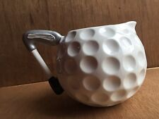 Ceramic White Golf Ball Water Drink Pitcher with Golf Club Handle Dimples