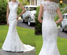 New Lace Mermaid White/Ivory Bridal Wedding dress Ball gown Size 6 8 10 12 14+