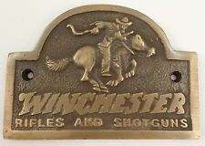 Winchester Rider Plaque Heavy Solid Brass Sign with Antique Patina