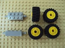 Lego Minifig ~ Lot Of Large Yellow Wheels With Tires & Axles Sets Car Truck #ztg